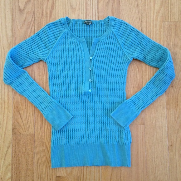 Eddie Bauer Tops - Eddie Bauer Teal Ribbed Long Sleeve Henley